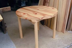 桧円形テーブル